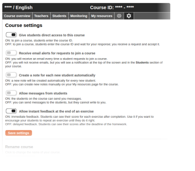 Managing your course settings